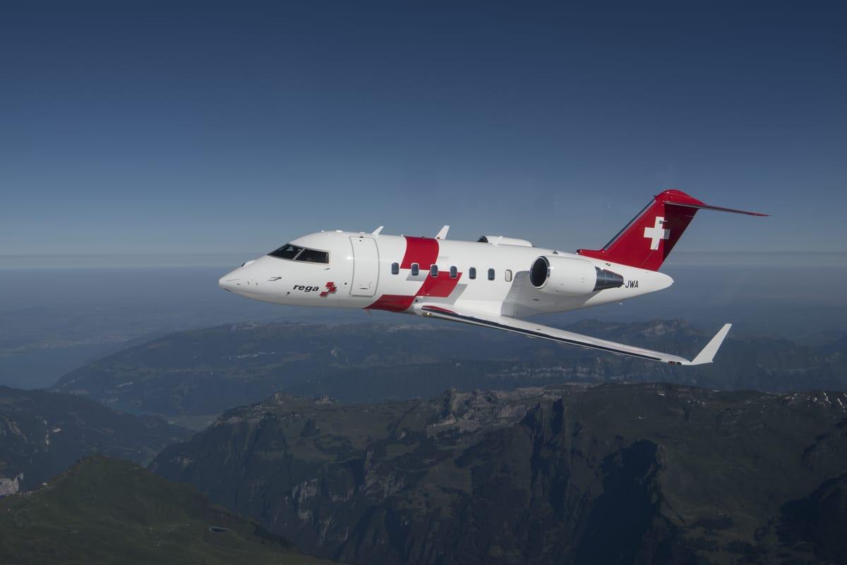 Ambulanzjet Bombardier Challenger 650 (Bild: Rega)