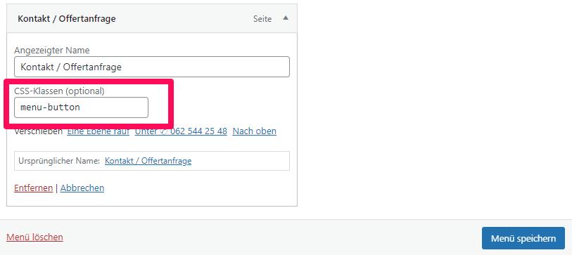 Eigene CSS-Klasse zu WordPress-Menü hinzufügen