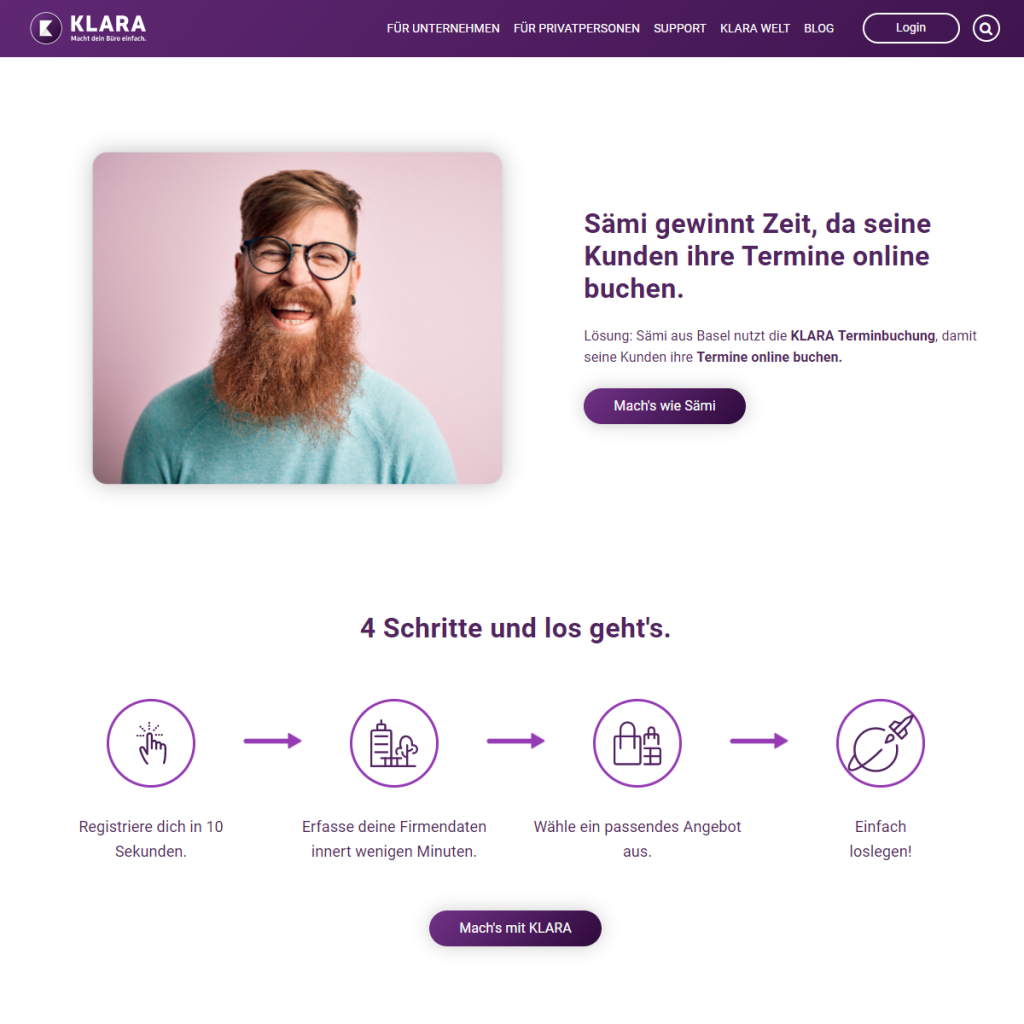 Keine lange Textblöcke. Beispiel: Klara.ch erklärt ihr Business in 4 einfachen Schritten.