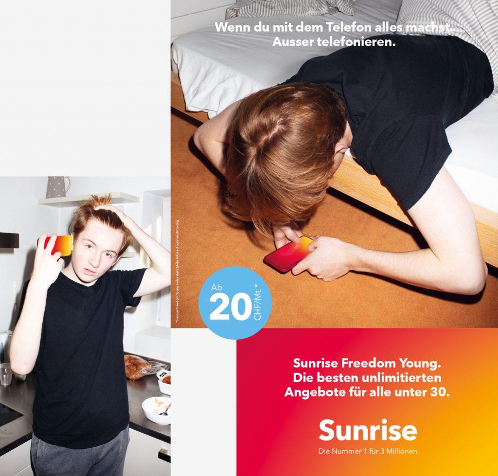 Sprich die Kunden gezielt an, die du erreichen willst. Beispiel: Sunrise Mobile Abo für Junge.