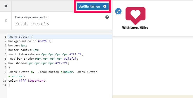 Zusätzliches CSS Option in WordPress Theme Customizer hinzufügen und veröffentlichen